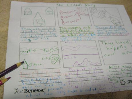 コマ撮りのため、子供が作った下書き