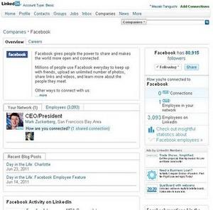 Facebook on linkedin