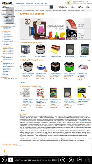 米Amazonに「3Dプリンター」カテゴリー登場  【増田 @maskin】