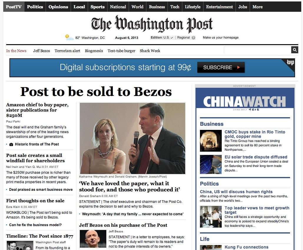 米アマゾンCEO Jeff Bezos 氏、2億5000万ドルでワシントン・ポスト紙を買収 【増田 @maskin】