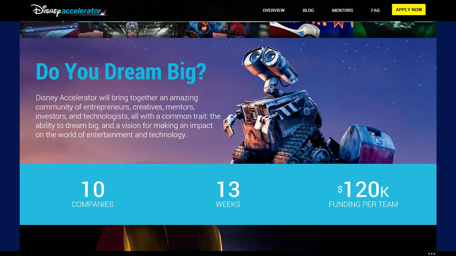 米ディズニーがアクセラレーションプログラム開始 【@maskin】