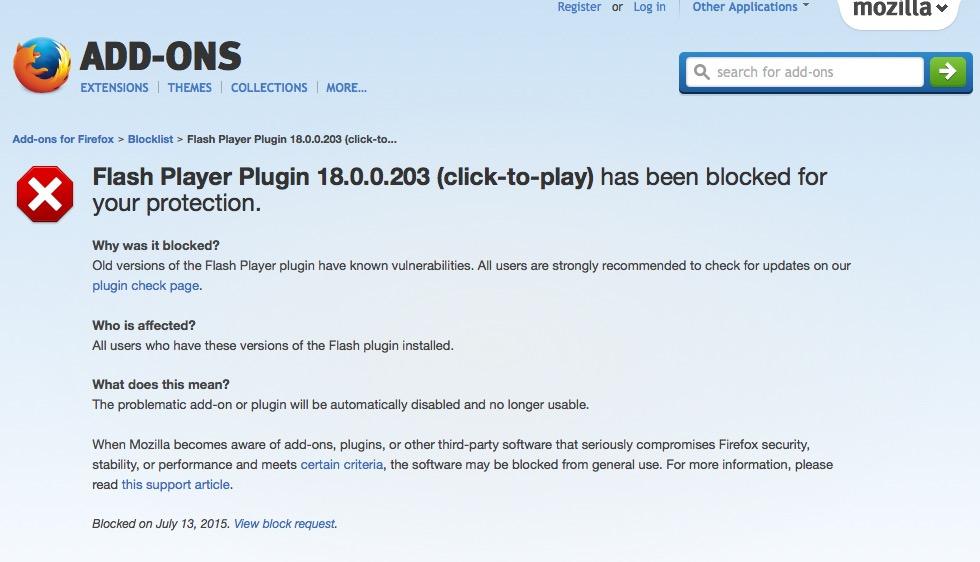 FireFoxが「Flash Plugin」をブロック、Adobeは対策するも流れはHTML5か 【@maskin】