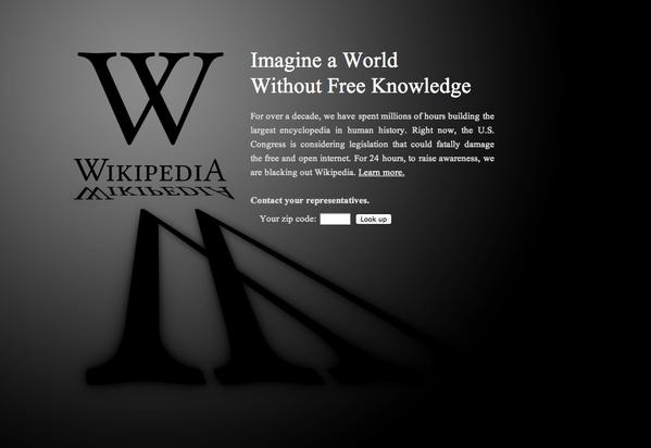 ウィキペディア英語版が24時間停止、GoogleやWordPress.com、有名ブログも黒塗り抗議 【増田(@maskin)真樹】