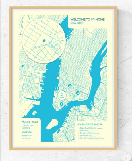 """""""自分ちの地図""""ポスターを作れるサービス"""