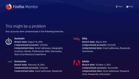 あなたのメアドとパスワードがどこから流出したかがわかるツール「Firefox Monitor」が怖い